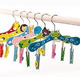Tyro Hangerlink Animals Cartoon Wooden Kids Hanger for Pants and Skirt (20 Pieces/Lot)