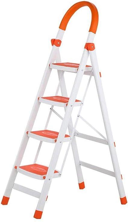 4-Escalera Plegable, de Aluminio Plegable Taburete de Paso, Cocina escaleras de Tijera con peldaños Antideslizantes y Agarre de Goma a Mano, Hogar/Cocina/Garaje heces (Color : Orange): Amazon.es: Electrónica