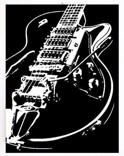 Gibson Limited Edition Guitarra – Marco moderno – cuadro pintado a mano Pop Art blanco y