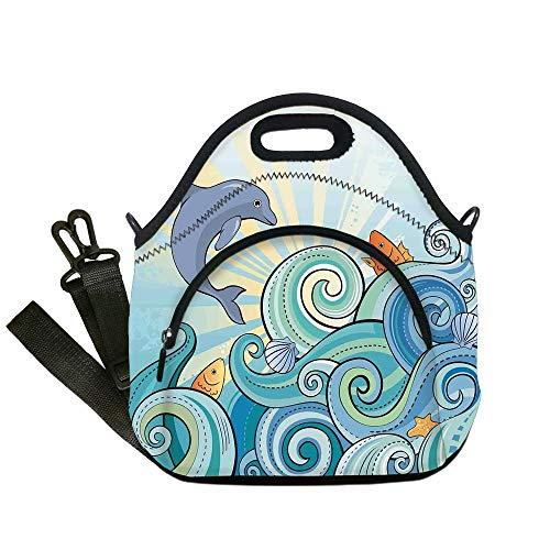 - Insulated Lunch Bag,Neoprene Lunch Tote Bags,Sea Animals Decor,Cartoon Dolphin Fish Starfish Shells Lights in Ocean Marine in Summer Pattern,Multi,for Adults and children