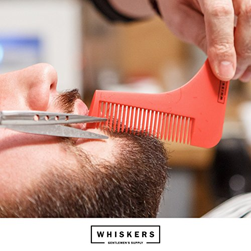 Beard Shaping Tool with Scissors and User Guide by Whiskers|The Ultimate Grooming Kit with Shaving Template for Perfect Lines| Comb for Long and Short Beards and a Variety of Styles (Black)