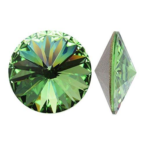Swarovski Crystal, #1122 Rivoli Fancy Stones 12mm, 4 Pieces, Peridot Sf