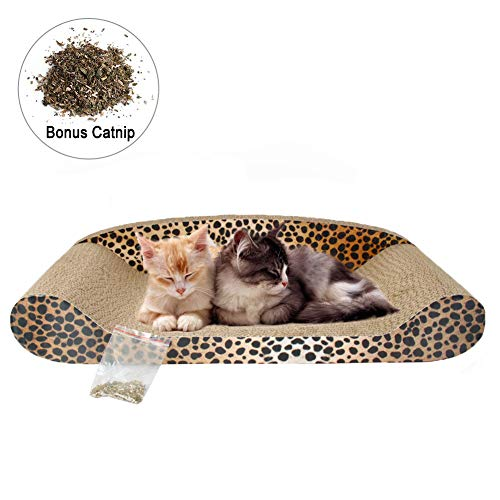 Monaca Cat Scratcher Lounge Scratching Pad Corrugated Cat Cardboard Couch Cardboard Recyclable Corrugated Scratching Pad Scratch-Resistant Bed Cat Sofa with Catnip ()