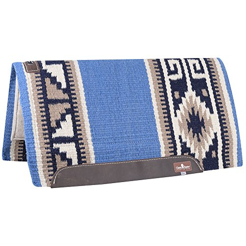 Classic Equine Wool Top 34x38 Saddle Pad Blue/Navy (Navy Horse Blanket Blue)