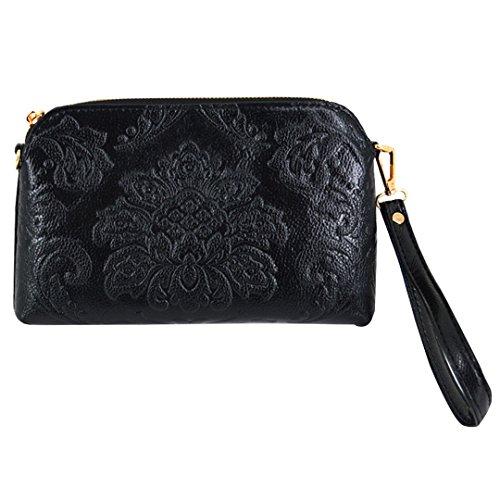 Bag Women Rivets Folded Clutch Soft Evening Wristlet Wallet Leather Felice Black25 Zipper Hwv6ZRdqRx