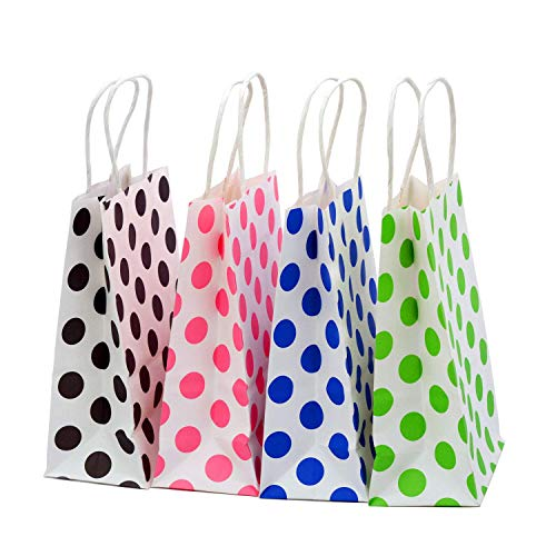 Goody Bags 50 Piece - 50 Pieces Kraft Paper Gift Bags with Handles (polka dot)