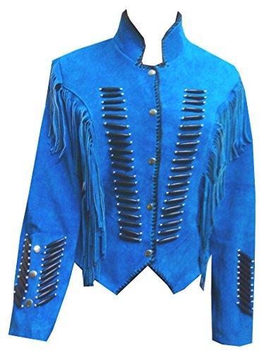 Bestzo Men's Native Indian Western Suede Jacket Fringes &...