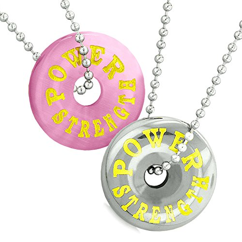 rength Best Friends or Love Couples Donuts Pink Simulated Cats Eye Hematite Necklaces (Cat Eye Hematite Necklace)