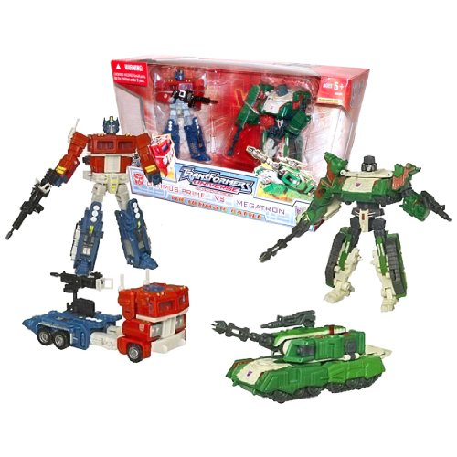 nsformers Universe Series 2 Pack Deluxe Class 6 Inch Tall Robot Action Figure - THE ULTIMATE BATTLE - Autobot OPTIMUS PRIME with Blaster Rifle and Power Punch Action (Vehicle Mode: Rig Truck) Vs Decepticon MEGATRON with Blaster Rifle and Spinning Battle Blade (Vehicle Mode: Tank) ()