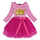 FYMNSI Birthday Dress Infant Baby Girls Toddler Kids 1st / 2nd / 3rd Birthday Party Cake Smash Dress Long Sleeve Striped Gold Crown Shiny Printed Tulle Tutu Bowknot Princess Dress Clothes Photo Props
