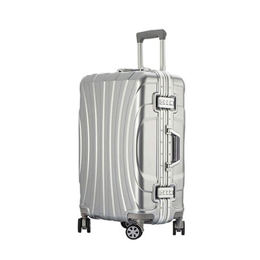 ハードシェルトラベルトロリースーツケース荷物セットスーパー軽量ABSトラベルホールドチェックイン荷物スーツケース付き4ホイールキャビンケース、44 * 28 * 67 cm B07MG4RX7P Silver gray