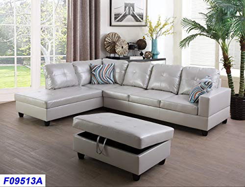 Beverly Fine Funiture SHPO9513A-3PC Sectional Sofa Set, Powder (Facing Sleeper Sofa)