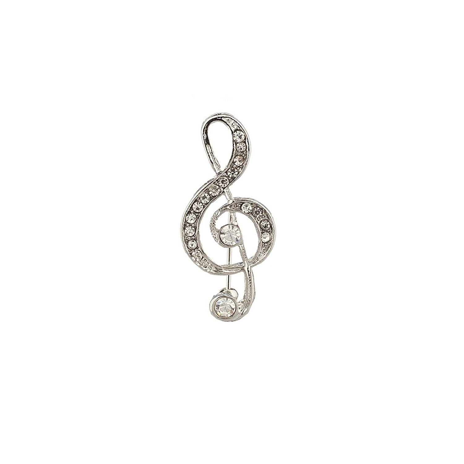 Lux Accessories Treble Clef Music Love Pave Crystal Pin Brooch.