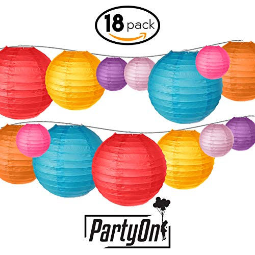 "PartyOn!18 Pcs Colorful Paper Lanterns (Multicolor, Size 6"", 8"", 10"") - Chinese/Japanese Hanging Paper Lanterns for Home Decor, Weddings, Baby Showers, Parties & More"