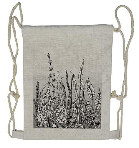Lunarable Ocean Drawstring Backpack, Underwater Sea Plants Corals, Sackpack Bag