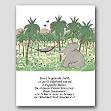 """French Nursery Decor, Boys Room Art (Babar the Elephant, Baby Poem Wall Print) """"Mother and Son"""" French Text – Unframed"""