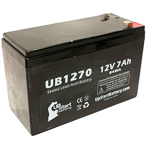 ADT PWPS1270 Battery - Replacement UB1270 Universal Sealed Lead Acid Battery (12V, 7Ah, 7000mAh, F1 Terminal, AGM, SLA) - Includes TWO F1 to F2 Terminal Adapters by UpStart Battery