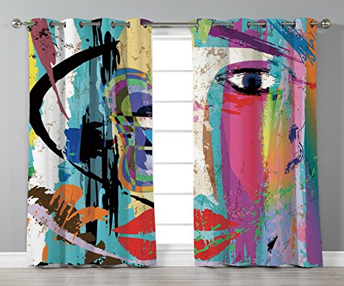 Thermal Insulated Blackout Grommet Window Curtains,Abstract,Woman Face Art Composition with Paint Strokes and Splashes Eye Red Lips Grungy Decorative,Multicolor,2 Panel Set Window Drapes,for Living -