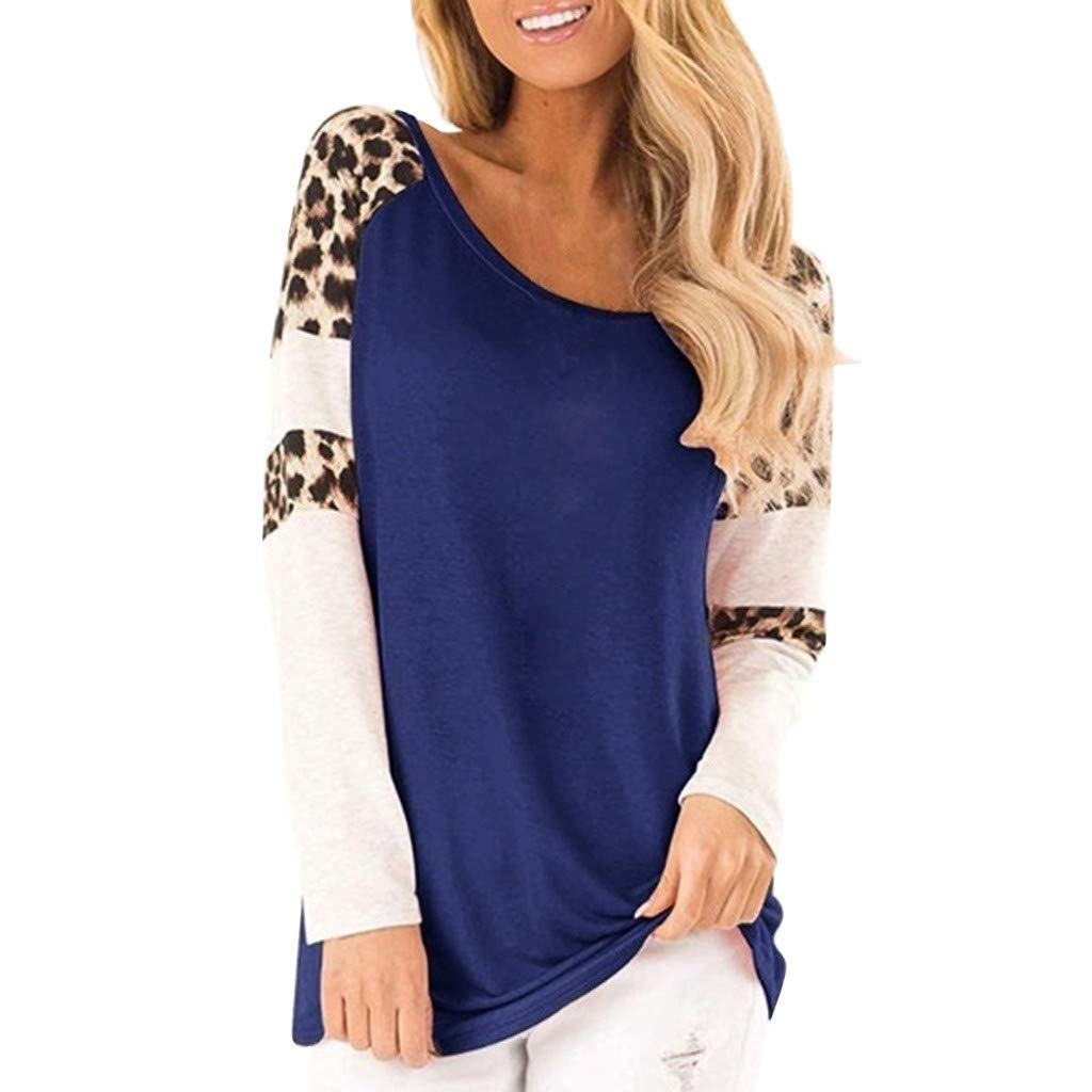QIUUE Women Elegant Leopard Print Sweatshirt Long Sleeve Splicing Blouses Round Neck Casual Tops Comfy Patchwork Pullovers Blue by QIUUE