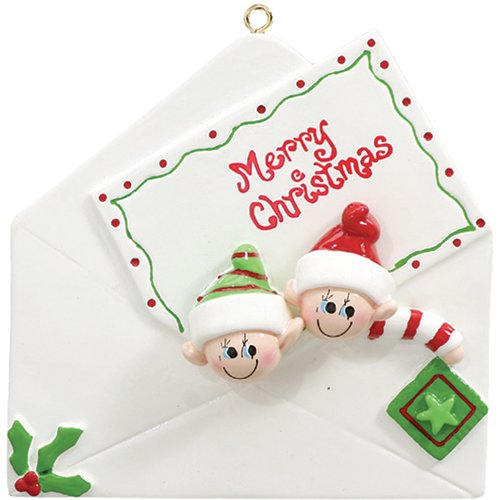 Personalized Christmas Letter Family of 2 Ornament for Tree 2018 - Cute Couple Children Friend Elf in Envelope with Merry Note - Gift Tradition Present Sibling Stamp Elves - Free Customization (Two) by Ornaments by Elves