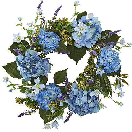 Mikash 24 Hydrangea Silk Flower Hanging Wreath -Blue | Model WRTH - -