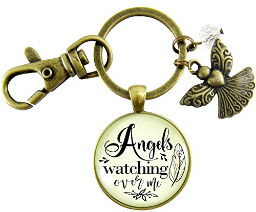 Card Child Prayer Personalized (Angels Watching Over Me Keychain Vintage Heaven Guardian Memory Inspired Pendant Gift Jewelry For Women Thoughtful Card)