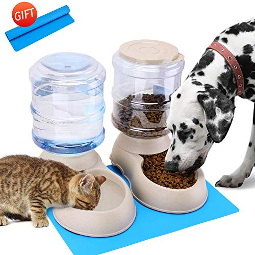 Automatic Cat Feeder and Water Dispenser in Set with Pet Food Mat for Small Medium Dog Pets Puppy Kitten Big Capacity 1 Gallon x 2