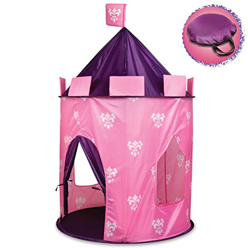 Discovery Kids Play Princess Castle Hideaway Tent for Children, Girls Indoor Pop Up Teepee Fortress Tents for Pillow Fort, Pretend Playset with Canopy for Indoors w/ Carrying Case, Pink & Purple (Pink Purple Tent)