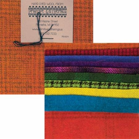 Primitive Gatherings - Brights Textured Hand Dyed Wool PRI-6024 - Charm Pack (Hand Wool Fabric Dyed)