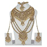 Ethnic Bollywood Fashion Gold Plated Kundan Necklace Indian Bridal Set Partywear Traditional Jewelry