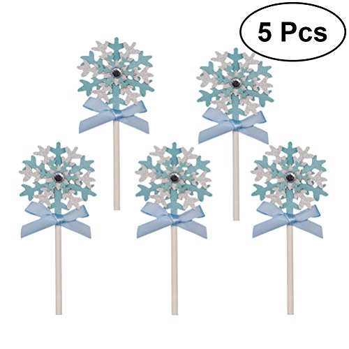 Amosfun Snowflake Cake Cupcake Picks Snowflake Cake Decoration Birthday Wedding Party Decor Food Picks 5PCS - Snowflake Wedding Cake Top