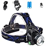 Diateklity Super Bright LED Headlamp Headlight Flashlight with Zoomable 3 Modes, XM-L CREE T6 LED 1000 Lumens, Hands-Free Headlight with Rechargeable Batteries for Biking Camping Hunting Running Rainy