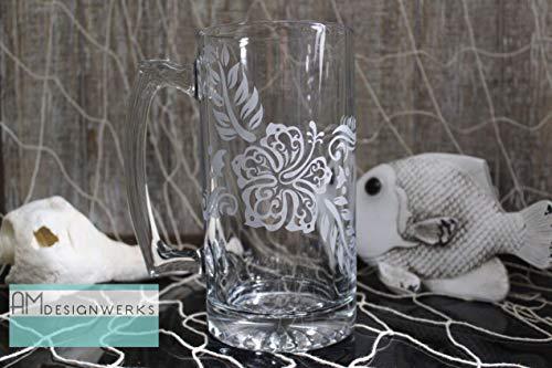 (Jumbo Hand Etched 28oz Tropical Hawaiian Style Hibiscus Flower Glass Beer Mug)