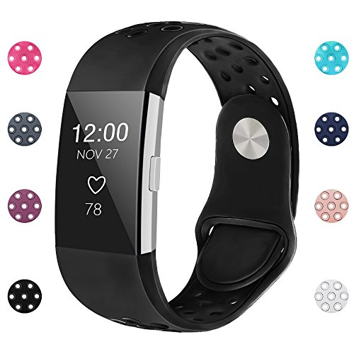 iGK Silicone Replacement Bands Compatible for Fitbit Charge 2, Adjustable Breathable Sport Strap Smartwatch Fitness Wristband with Air Holes with Clsap Black Small