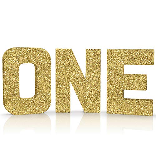 ONE Sign Gold Glitter Large First Birthday Sign Freestanding Cake Smash Photo Prop 1 Year Old Number Sign ONE Letters First Anniversary Celebration Party Decor Paper Mache Letters (1 Photo Prop)
