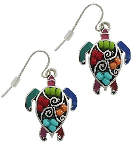 Sea Turtle Fashion Earrings   Silver Plated Mosaic Turtle Seed Bead Drop Earrings for Women or Girls