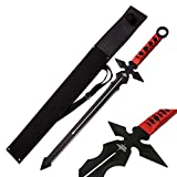 Fantasy Short Sword Double Edge Cross Blade with Shoulder Sheath