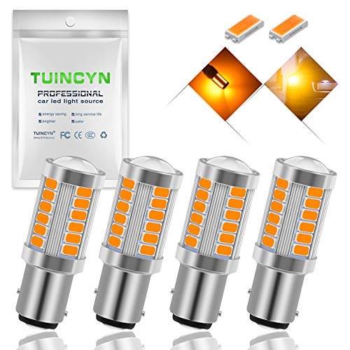 TUINCYN 1157 BAY15D LED Bulb Amber Yellow Turn Signal Light Bulb Super Bright 8000K 5630 33SMD 1016 1034 7528 2057 Tail Brake Light Back Up Reverse Light Parking Light DC 12V (Pack of 4)