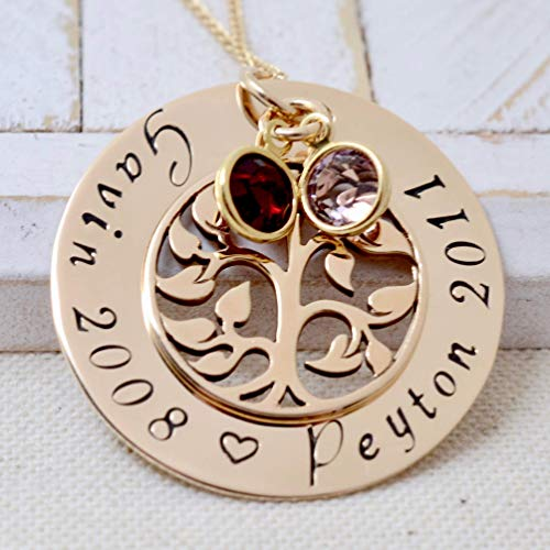 (14k Gold Filled Family Tree Birthstone Necklace, Personalized Mother's Necklace, Grandmother)