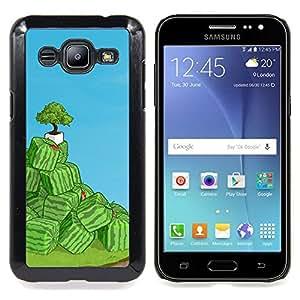 """Qstar Arte & diseño plástico duro Fundas Cover Cubre Hard Case Cover para Samsung Galaxy J2 / J200 (Cubo de la sandía Arte"""")"""