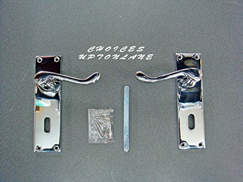Victorian scroll door handles Lever Long Latch polished chrome 150x40mm