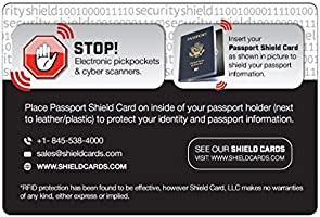 Rfid Blocking Shield Guard Cards for Full Wallet Security 2 Pack of Rfid Blocking Credit Card Size Cards.1 Passport Sized Shield Card Included.