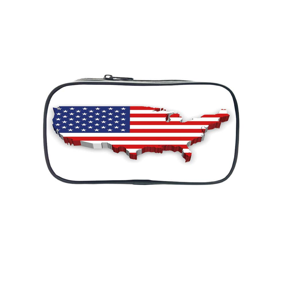 Strong Durability Pen Bag,USA Map,America Continent Figure with National Flag Symbol Glory Country Design Decorative,Navy Blue Red White,for Students,Diversified Design