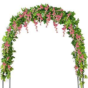 Mavee 4 Pcs 7.2 Feet Artificial Flower Vine Silk Wisteria Garland Hanging Rattan with Ivy Leaf for Wedding Home Decor (White) 100