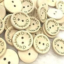 Northbear 100pcs 2 Holes Creative DIY Natural Wooden Handmade Love Heart Wood Sewing Buttons Scrapbook (20mm)