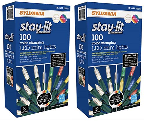 Sylvania Christmas Lights 3-function Color Changing Warm White Multi Color Connectable LED Mini Lights 100 count (2 boxes (200 count))