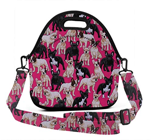 Neoprene Lunch Box, French Bulldogs Dogs Pets Puppy Tote Bag