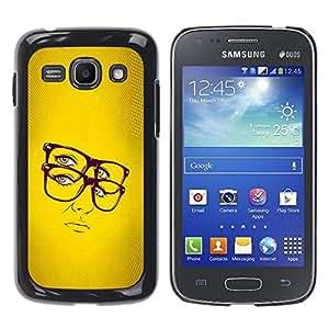 TECHCASE**Cubierta de la caja de protección la piel dura para el ** Samsung Galaxy Ace 3 GT-S7270 GT-S7275 GT-S7272 ** Glasses Hipster Chic Yellow Woman Portrait Sexy