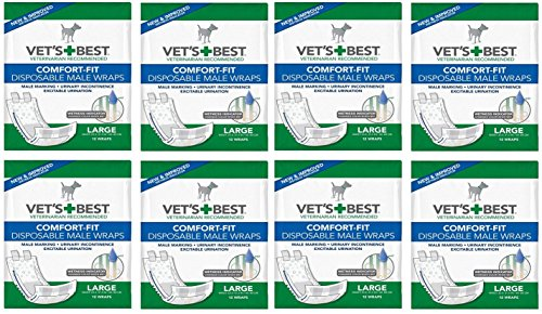 Veterinarian's Best Comfort-fit 12 Count Disposable Male Wrap, Large (8 Packs) by Vet's Best
