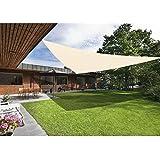 Green Bay - Protector solar para patio o jardín, 98% bloqueador de rayos UV, forma triangular, tamaño 3, color crema